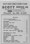 Scott Drive-In Menu circa 196?